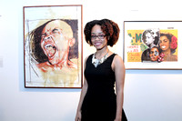 Xia Gordon with her art (l)